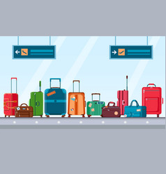 Airport conveyor belt with luggage carousel vector