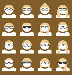 Avatar set people wearing stylish glasses vector