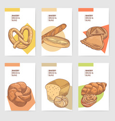 bakery hand drawn brochure cards design with bread vector image