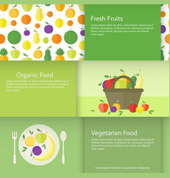 Banners with fruits plate and basket in flat vector