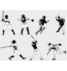 Baseball players set - sketch vector