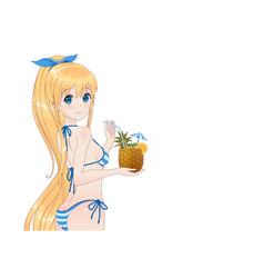 beautiful anime manga girl in bikini vector image