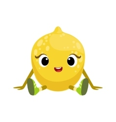 Big Eyed Cute Girly Lemon Character Sitting Emoji vector