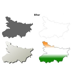 Bihar blank detailed outline map set vector