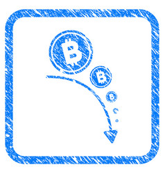 Bitcoin deflation trend framed stamp vector