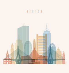 Boston massachusetts city skyline silhouette vector