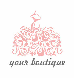 boutique bridal dress floral luxury logo template vector image