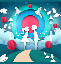 boy and girl love paper cartoon vector image