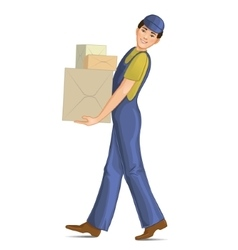 Boy in uniform carries cardboard boxes vector image