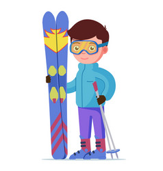 boy standing with mountain skis and sticks vector image