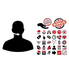 Call Center Flat Icon with Bonus vector image