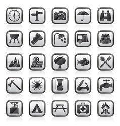 Camping and tourism icons vector