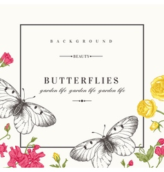 Card with butterflies and flowers vector