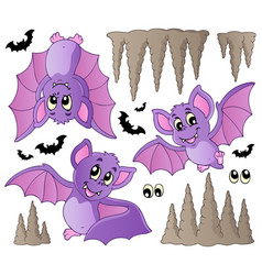 Cartoon bats collection vector