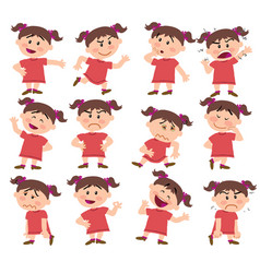 Cartoon character girl set with different postures vector