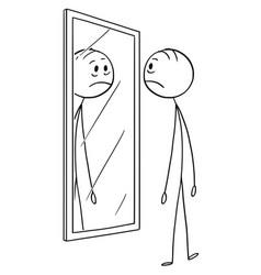 cartoon of sad depressed man looking at himself vector image