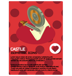Castle color isometric poster vector