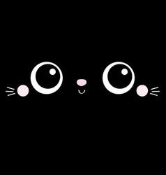 Cat kitten kitty square face head icon cartoon vector