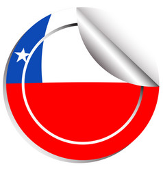 Chile flag on round sticker vector