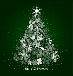 christmas fir tree made from white snowflakes on vector image