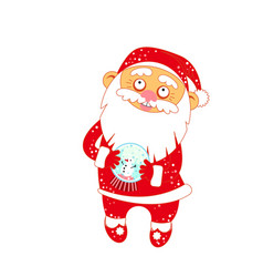 christmas santa claus with a glass ball with snow vector image