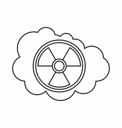 Cloud and radioactive sign icon outline style vector image