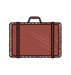 Color crayon stripe travel briefcase with handle vector