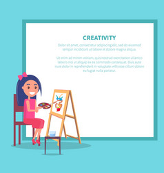 Creativity poster with girl drawing vase vector