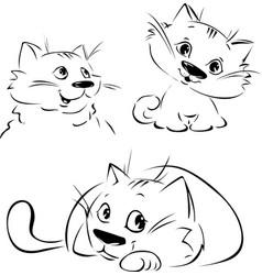 cute cat - black sketch in 3 pozition - black vector image
