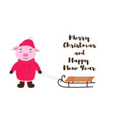Cute pig in winter clothing with sledges vector