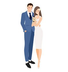 Cute young wedding couple with french bulldog vector