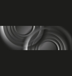 Dark grey abstract banner with smooth circles vector