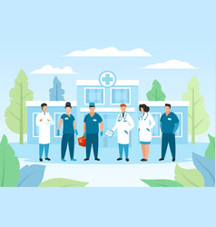Doctor group in hospital healthcare vector