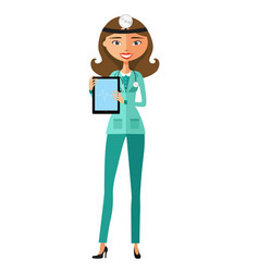 doctor showing something important on the tablet vector image