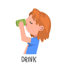 Drink word verb expressing action vector