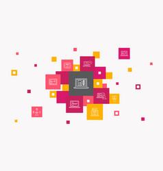 Elearning infographic 10 steps pixel design vector