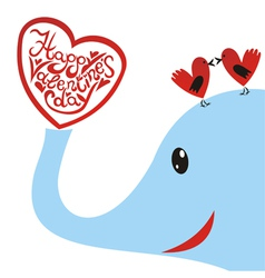 Elephant with bird heart valentines day card vector image