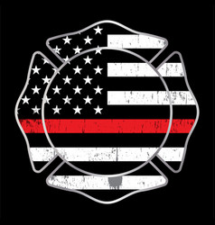 Firefighter thin red line badge emblem vector
