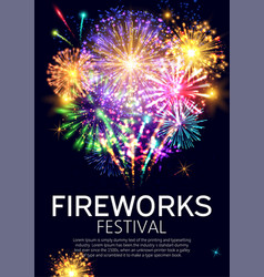 fireworks festival bursting in various shapes and vector image