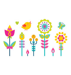 Flowers set bird and butterfly vector
