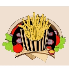 Fried fries vector