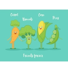 Funny vegetables holding hands vector image