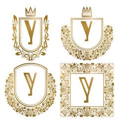 golden vintage monograms set heraldic logos y vector image