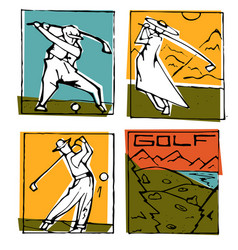 Golf club icons posters set vector