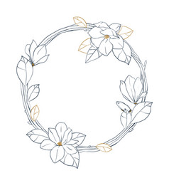 graphic magnolia wreath floral design isolated on vector image