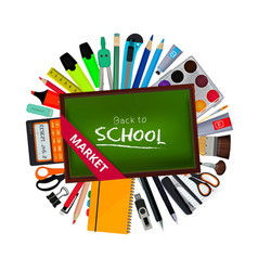 green blackboard of teacher and different school vector image