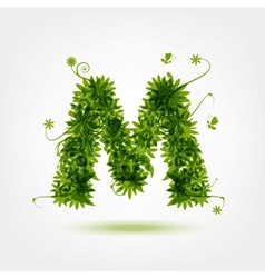 Green eco letter M for your design vector