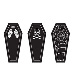 halloween coffin black and white icon set vector image