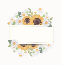 Hand draw cute sunflower bouquet wreath vector