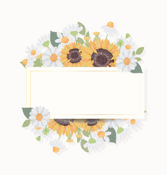 hand draw cute sunflower bouquet wreath with vector image